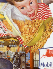 Appropriating vintage 50's advt and illustrations Sally Edelstein's collage looks at Post War multinationals promoting a consumer culture