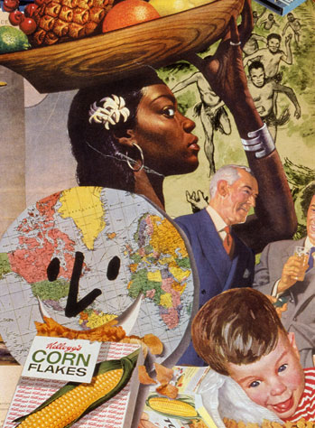 Sally Edelstein's collage utilizing vintage 40's 50's advt. and  illustration pokes fun at the Cold War Military Industrial complex of war making and money making
