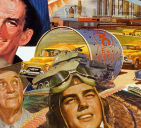 Appropriating vintage advt illustrations from 40's 50's Sally Edelsteins'collage looks at American lust for oil