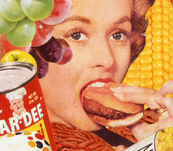 The American Cold war appetite for convenience is displayed in Sally Edelstein's collage  composed of retro food ads
