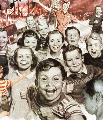 Poking fun at the duck n cover ethos of Cold War, artist Sally Edelstein's collage portrays smiling baby boomer children rushing to a fall out shelter