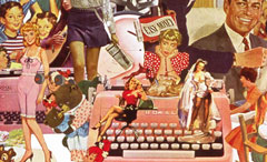 A collage by Sally Edelstein utilizing vintage illustration is a collection of conflicting cultural messages about women and their roles in the 50's 60s and 70's
