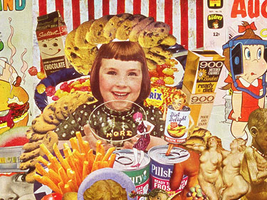 Conflicting Cold War messages about food and appetite are addressed in Sally Edelstein's collage composed of vintage food advertising and illustration