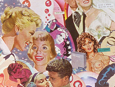 Appropriating vintage advertising and illustrations from 50's,60's and70's, Artist Sally Edelstein's collage comingles cliches about growing up female in America