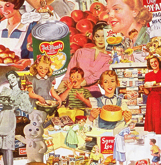 A pastiche of processed foods and the 50s housewives who prepared them is featured in sally Edelstein's collage composed of vintage food advertising and illustrations from 50s 60s