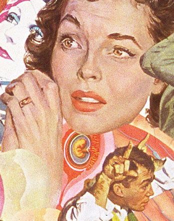 Utilizing vintage illustrations form 50's 60's Sally Edelstein's collages adresss womens conflicted role of motherhood