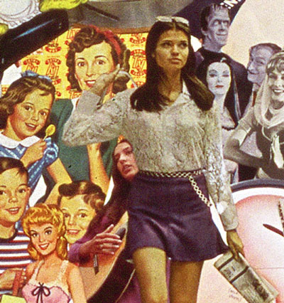 Utilizing vintage advertising and illustrations 50's, 60s, Sally Edelstein's collage is a collection of conflicting cultural messages about women and their families