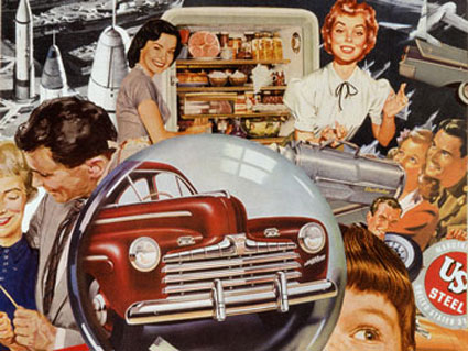 collage artist Sally Edelstein appropriates advertising illustration from 1950's in depicting Atomic Age pop culture