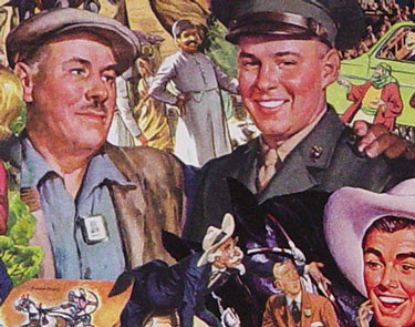 Sally Edelstein appropriates vintage illustrations from 1940s 50s in her collage portraying American soldiers as goodwill Ambassadors in Post War World