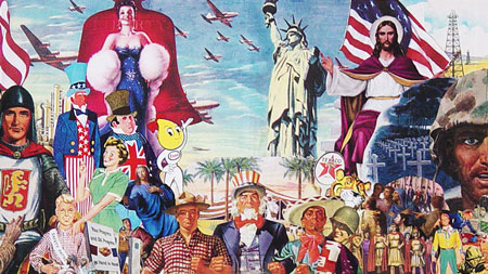 Appropriating vintage 40's 50's vintage illustrations, Sally Edelstein's collage is a collection of icons of the Cold war military- industrial-religious-complex