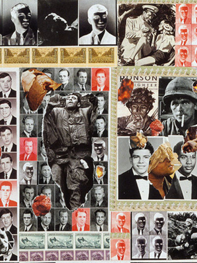 Sally Edelstein's collage is composed of hundreds of High school year book portraits from 40's 50's60s juxtaposed against horrors of war