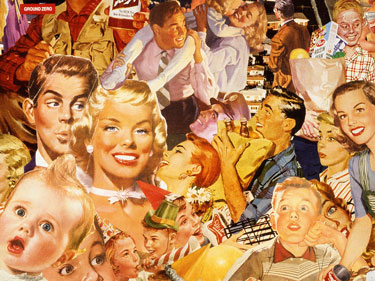 Appropriating images from 40's 50's vintage illustrations collage artist Sally Edelstein comingles media stereotypes of the nuclear family
