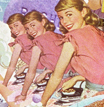 A collage by Sally Edelstein featuring mass media stereotypes of smiling 50's housewives doing housework