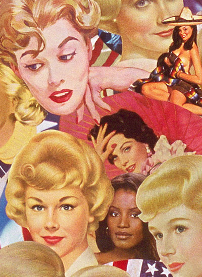 Appropriating vintage illustration Sally Edelstein's collage blends ethnic stereotypes used in beauty ads of 50's 60's