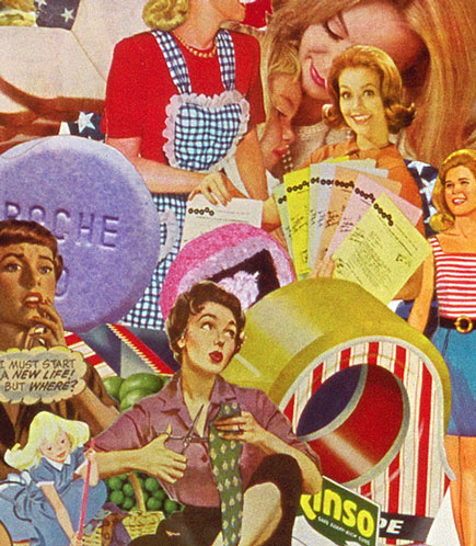 The new Frontier World of pre feminists questioning their happy housewife roles in Sally Edelstein's collage utilizing vintage illustrations 50's 60's