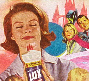 A collage by Sally Edelstein featuring vintage images from 50s 60s of female consumerism