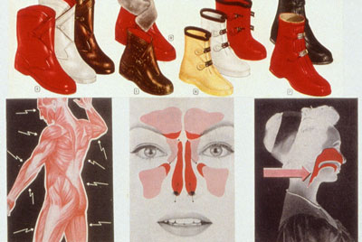 Don't forget your galoshes.Preparing for a Nuclear winter is the subject of Sally Edelstein's collage composed of 50's 60's vintage illustrations